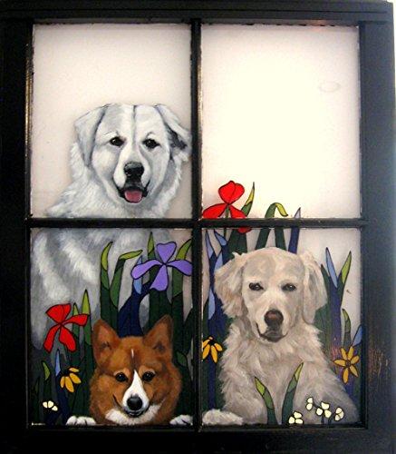 Custom Pet Portrait, Dog Loss Memorial, Recycled Art, Vintage Window Art, Animal Art, Wall Hanging,