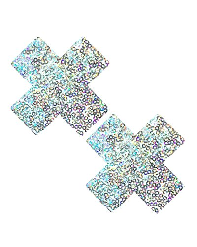White Tear (iHeartRaves Unicorn Tears Sparkle White Sequin Cross Pasties Nipple Covers)