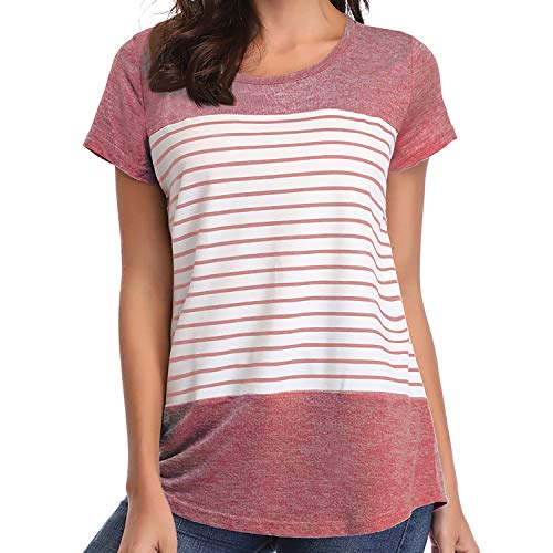 Loritta Womens Short Sleeve T-Shirt Round Neck Block Stripe Tees Casual Blouse Tops, Pink, XXL ()