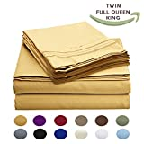 Luxury Egyptian Comfort Wrinkle Free 1800 Thread Count 6 Piece Queen Size Sheet Set, Golden Tan Color, 2 Bonus Pillowcases FREE!
