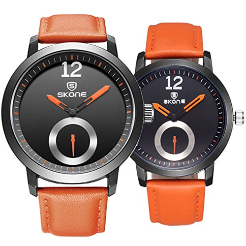 Astarsport Couple Watches Leather Watch for Men and Women he and her Watch Couple Watches Lover Watch Valentine's Watch Lovers Watch Matching Watch Orange 2pcs by AStarsport