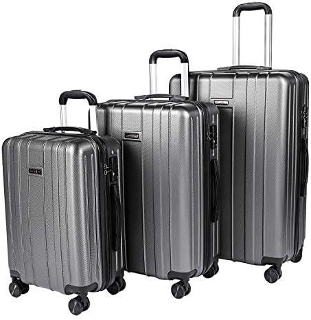 CarryOne Luggage 3 Piece Set Suitcase Spinner Hardshell Lightweight TSA Lock Luggage Set, Gray