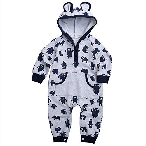 Baby Boys Long Sleeve Monsters Print Hoodie Romper with Ears (70(0-6M), Grey) (Santa Hoodie)