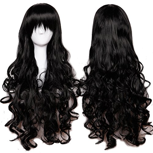 32 Inch Long Wavy Curly Anime Cosplay Wigs with Bangs Japanese Kanekalon Synthetic Hair for Women Girls Halloween Costume Free Wig Cap 10 Colors (Black)