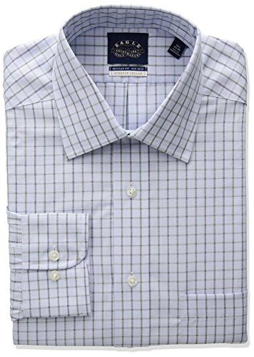 Eagle Men's Stretch Collar Regular Fit Windowpane Check Dress Shirt, Riviera Blue, 17.5