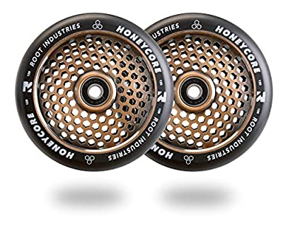 Root Industries 120mm Honeycore Pro Stunt Trick Kick Scooter Wheels (Pair) - Fast Hollowcore - Push Scooter Tires - 120mm Freestyle Speed Urethane - Fit Most Setups - 24mm x 120mm - Bearings from Root Industries