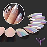 Best Fake Nails - Ejiubas Shinning Mirror Chrome Stiletto Nails Artificial Nails Review