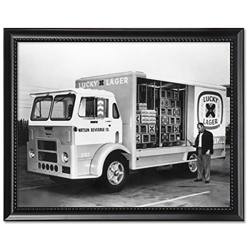 black-wood-framed-print-11x14-lucky-lager-beer-truck