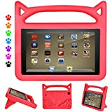 ThreeJ Case for All-New A m a z o n F i r e H D 8 Tablet (7th Gen, 2017 Release), Light Weight Shock Proof Portable Handle Standing Protective Cover [Kids Friendly] for F i r e H D 8 Tablet (Red)