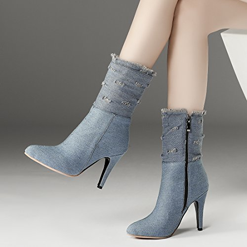Ye Hiver Bottes Denim Pointu Bout Ankle Chaussures Jeans Femme Boots qwzxr1qI