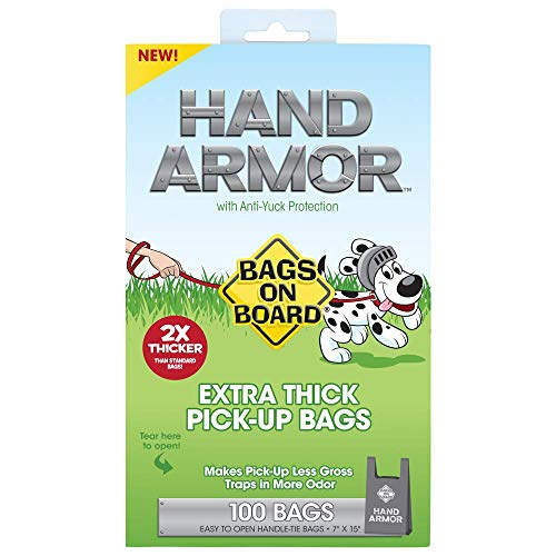 (Bags On Board Hand Armor Dog Poop Bags | Extra Thick Dog Waste Bags with Leak Proof Protection | 7x15 Inches, 100 Bags)