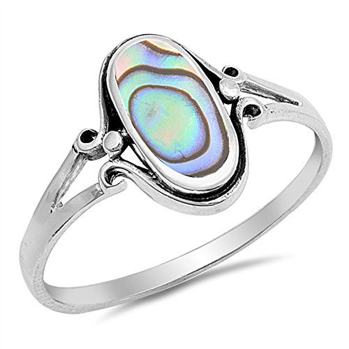 - Simulated Abalone Oval Boho Celtic Antiqued Filigree Ring Sterling Silver Band Size 10