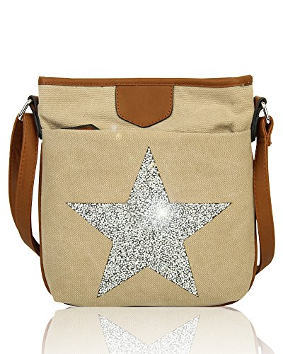 Sparkling Vintage Slim Women's Messenger Shoulder Rhinestones Big Bag Canvas Redfox Almond Star Fx5Bqaw56
