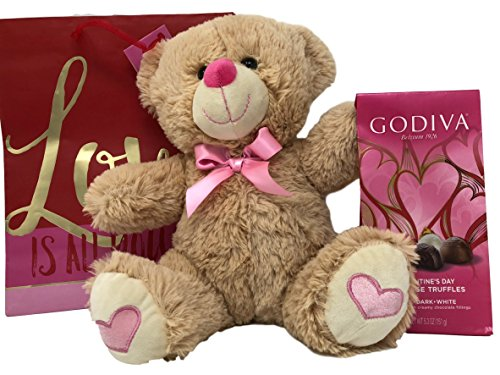 Valentines Day Gift Basket Set | 12 inch Teddy Bear Plush, Godiva Chocolatier Valentines Day Individually Wrapped Milk and Dark Chocolate Truffles 5.3 OZ Gift Bag (Light Brown)