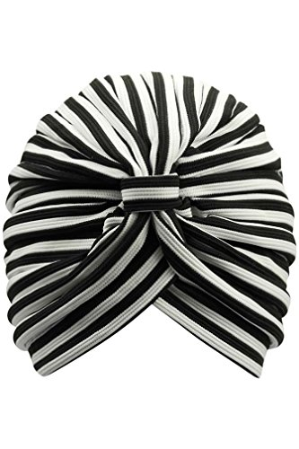 UPC 706433052646, Luxury Divas Black & White Stripe Turban Cap With Front Knot