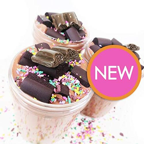 French Silk Chocolate Cake Slime Scented with Charm 4oz  Desert Slime with Foam Pieces