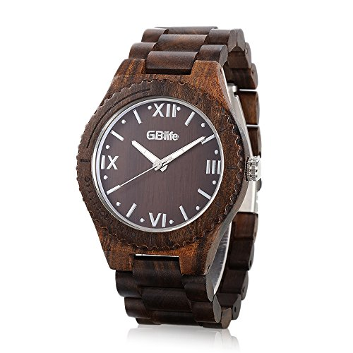 5 Degree Pin (Wooden Watches for Men or Women,GBlife Casual Retro Series/Lightweight/Natural/Handmade/Adjustable Wood Watch Band/Thin Case Quartz Wrist Watch (Ebony Wood))