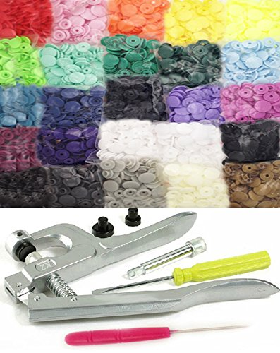 Great Deal! 250 KAMsnaps 25-Color Starter Kit: Size 20 KAM Snaps with Snap Press Pliers for Plastic ...