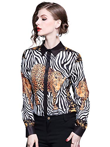 Women's Collared Animal-Inspired Shirt Long Sleeve Button up Casual Blouse - Button Inspired