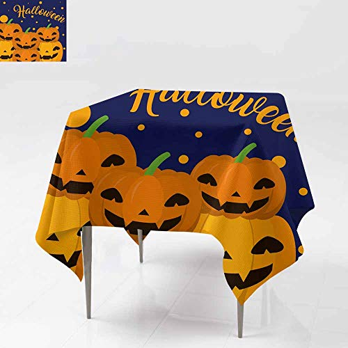 Fbdace Stain Resistant Square Tablecloth,Halloween Cartoons Card Party Decorations Table Cover Cloth 54x54 Inch]()