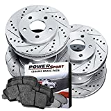 Full Kit Drilled Slotted Brake Rotors and Ceramic Pads 2003-2007 Honda Accord