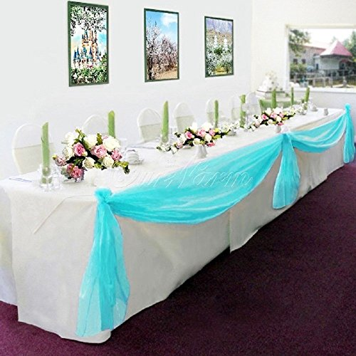 (GorgeousHome Valance *Different Colors* 1 Swag For Table Chair Window Wall Church Decor Pole Fabric Size (6 YARD) 216 Inches Long (Turquoise ))