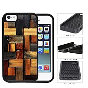 Aged Laminate Hardwood Floor 2-Piece Dual Layer High Impact Rubber Silicone Cell Phone Case Apple iPhone 5 5s