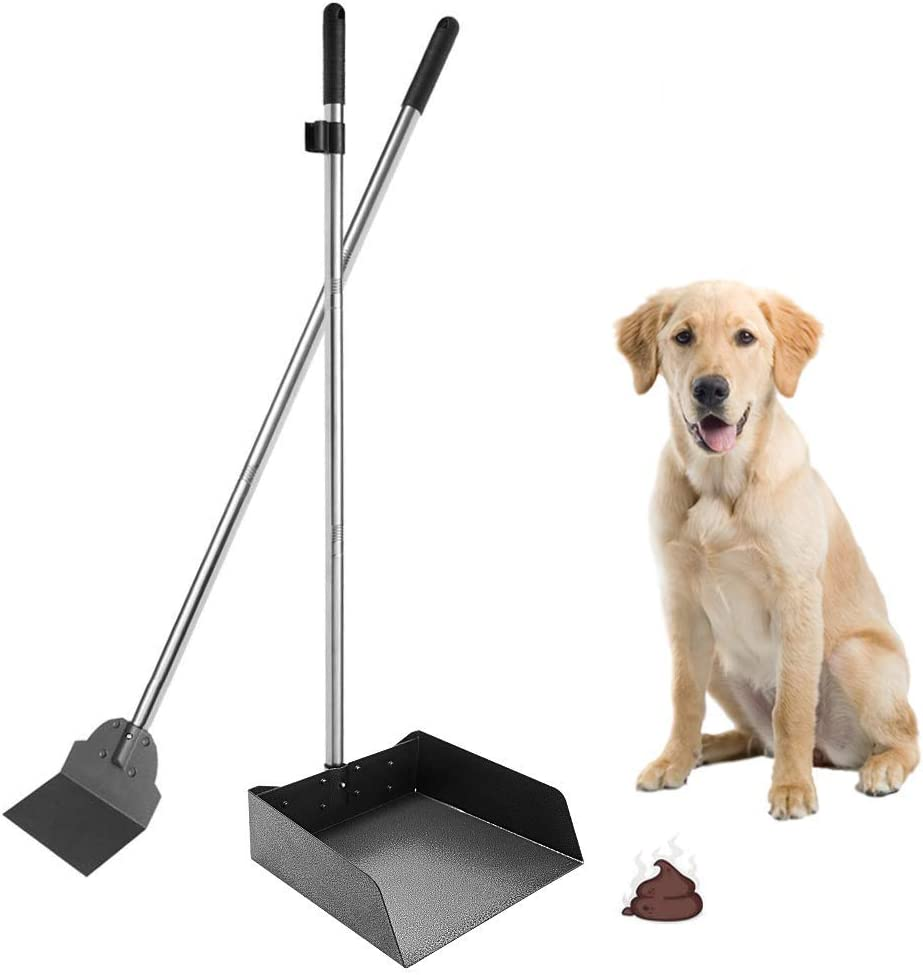 """SCENEREAL Pet Poop Tray & Spade Set Dog Cat Waste Removal Scoop with 37.4"""" Long Detachable Handle¡"""