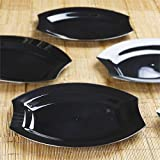 BalsaCircle 20 pcs 10.5-Inch Black Plastic Oval Plates - Disposable Wedding Party Catering Tableware