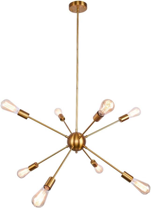 OYIPRO Sputnik Chandelier, 8 Lights Chandelier Pendant Lighting Mid Century Modern Industrial Starburst Style Ceiling Light Fixture E26 Socket Brass F