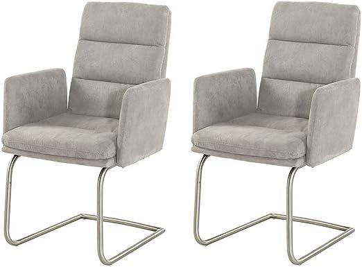 lifestyle4living Stuhl in Microfaser grau, Schwingstühle mit Armlehnen 2er Set, hochwertige Polsterung für einen bequemen Sitz, Gestell aus Edelstahl,