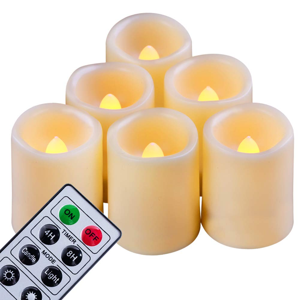 Beichi Set of 6 Remote Control Votive Candles Battery Operated, Flameless Flickering Tealight Candles, LED Timer Tea Lights in Amber Yellow Flame, Unscented Outdoor Electric Candles, D1.5''x2''H by Beichi (Image #1)
