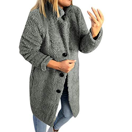 FarJing Womens Winter Teddy Bear Fleece Fur Fluffy Coat Jackets Jumper Outwear Oversized(XL,Gray ()