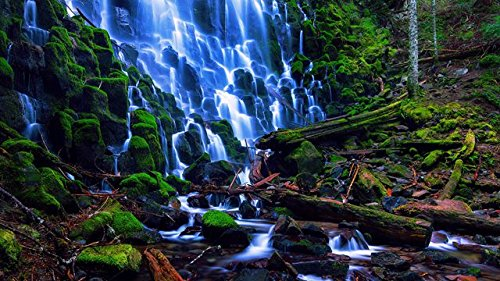 YYAYA.DS USA nature landscape Oregon Ramona Falls stones - Art Print Silk Fabric Cloth Wall Poster Print 42x24 Inches