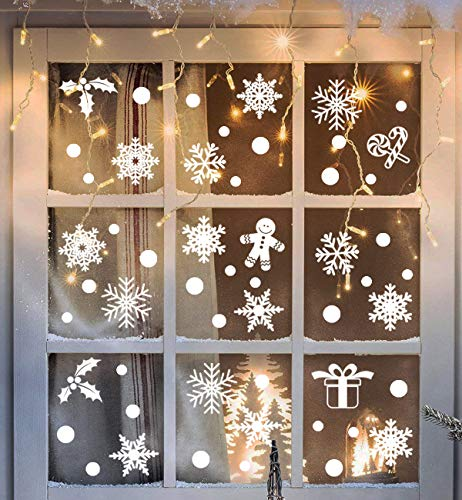 3omething New Christmas Snowflake Window Clings Decorations - Xmas/Holiday/Winter Wonderland White Decorations Ornaments Party Supplies 190+