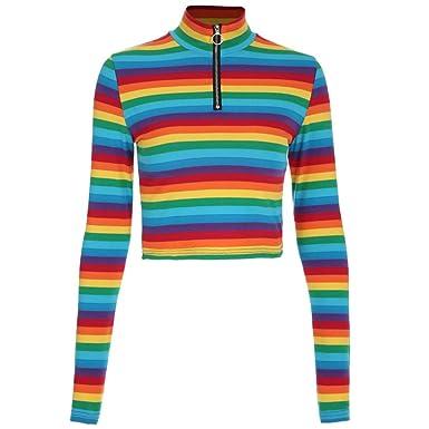 4d2f0b58d2dff9 KingProst-Herbst Gestreiftes Shirt Damen Bunt Langarmshirt Damen V  Ausschnitt T-Shirt Blusen Langarm