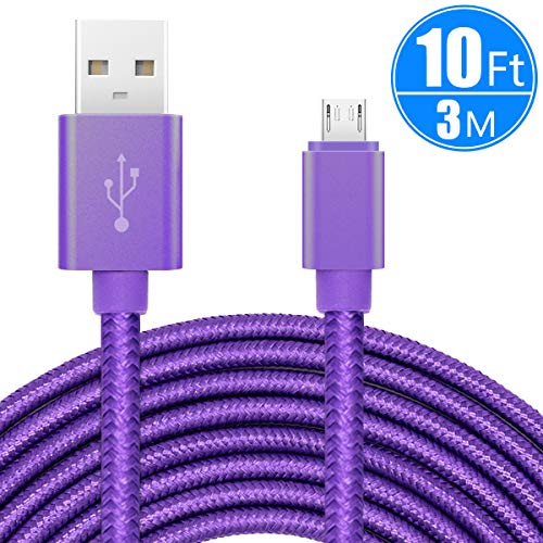 ebulous 10ft/3m Extra Long Micro USB Charging Cable, Premium Nylon Braided Android Charger USB 2.0A High Speed Data Sync Cord for Android Devices/Samsung/Motorola/Table/Windows/Camera/Reader (Nokia Lumia 925 Best Price)