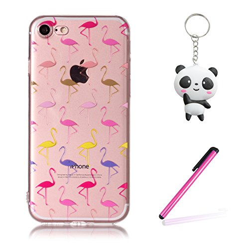 Coque iPhone 8 Oiseaux de flamme Premium Gel TPU Souple Silicone Transparent Clair Bumper Protection Housse Arrière Étui Pour Apple iPhone 8 + Deux cadeau
