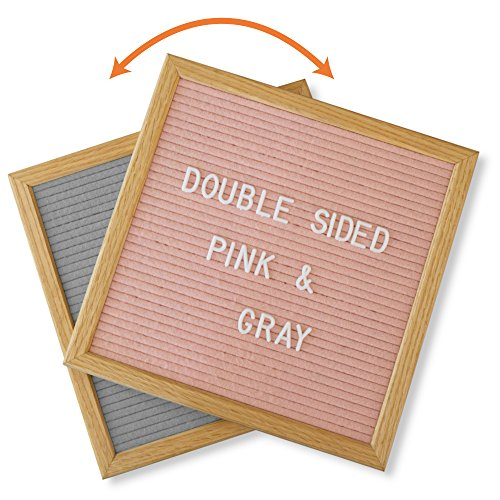 Reversible Presentation Board (Pink Letter Board, Reversible with Grey. Includes Stylish Stand and 600 Letters. 10x10 Inch Open Face Changeable Sign Board made from American Oak Wood.)
