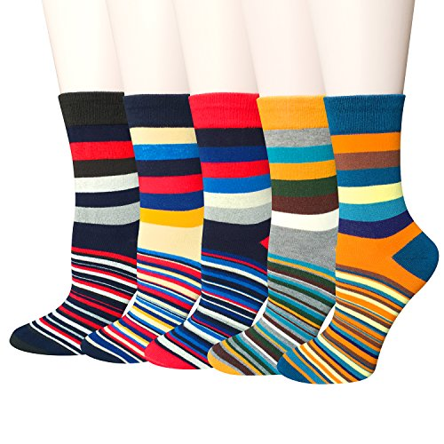 5-Pairs-Womens-Colorful-Cotton-Fancy-Design-Novelty-Funny-Crew-Socks-by-Darller