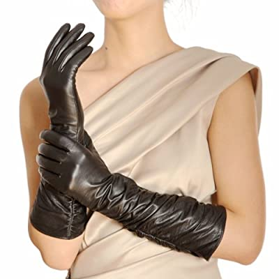 Womens Winter Long Evening Dress Texting Touchscreen Leather Gloves Sleeves Fleece Lined Ruched Elbow Length