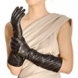 Warmen Winter Fleece Lined Ruched Elbow Length Long Evening Dress Leather Gloves (7.5, Black ( Touchscreen Function ))