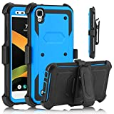 USHAWN LG X Style Case, LG Tribute HD case, Full Body Shockproof Heavy Duty Armor Protective Case Cover with Belt Swivel Clip for LG X Style / LG Tribute HD / LG Volt 3 / LG LS 676 / LG K200 (Blue)
