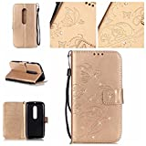 Moto G 3rd Gen Case,RIVRE [Wrist Strap] Inlaid Shiny Diamond [Stand Feature] PU Leather [Butterfly Flower] Flip Wallet Case Cover for Motorola Moto G G3 (3rd Gen, 2015) (Gold)