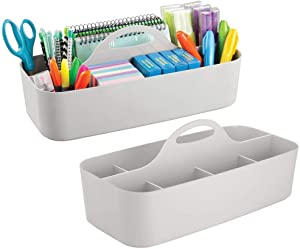 mDesign Large Office Storage Organizer Utility Tote Caddy Holder with Handle for Cabinets, Desks, Workspaces - Holds Desktop Office Supplies, Gel Pens, Pencils, Markers, Staplers - 2 Pack - Light Gray
