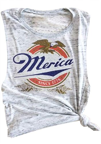 Erxvxp Women Tank Tops Sleeveless Merica Since 1776 Racerback T-Shirt Vest for Independence Day (Gray, X-Large) - Day Tank Top