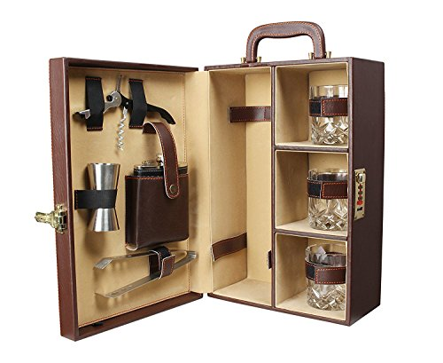 Telconi Premium Mega Bar Set with coaster and stylish Bottle opener| Portable Leatherette Bar Set | Bar Set For Picnic | bar Set for Travel | Bar Set for car | Whiskey Glasses