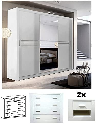 Brand New Modern Bedroom Furniture Set Havana Sliding Door Wardrobe 250cm Chest Of Drawers 2x Bedside Cabinets In White Matt Sold By Arthauss Amazon Co Uk Kitchen Home