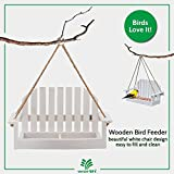 Worth Garden Wooden Bird Feeder with White Swing Chair Design
