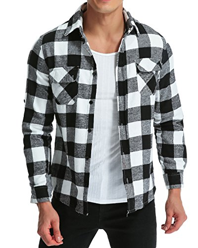 MODCHOK Men' Shirt Long Sleeve Outwear Plaid Flannel Slim Fit Button Down Check Tops Black&White XL -